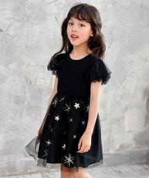 子供服Bee/チュール×パフ袖ブラックワンピ/502453385