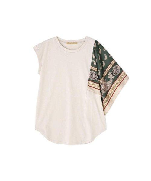 ROSE BUD(ローズバッド)/アシメトリースカーフプリント柄Tシャツ/6019213020