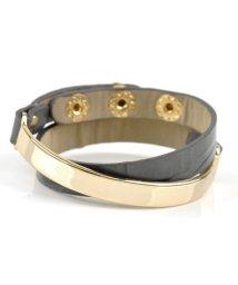cream dot/ゴールドメタルプレートとリアルレザーの2連ブレスレット/502454495