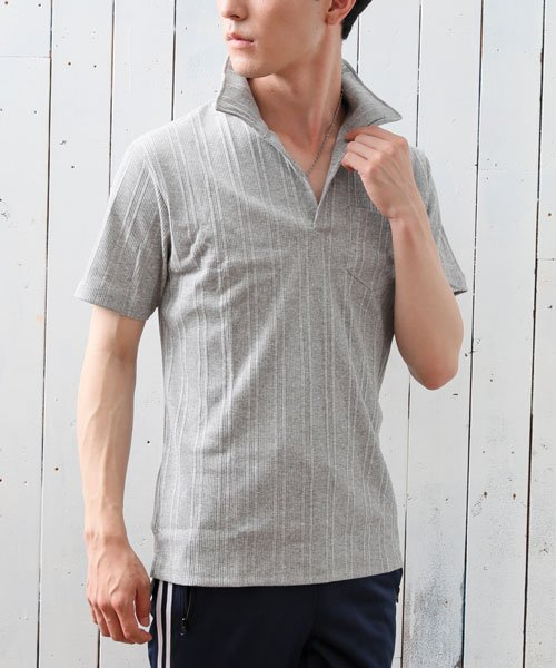 TopIsm(トップイズム)/スキッパーメンズポロシャツ襟ワイヤー入り/610043