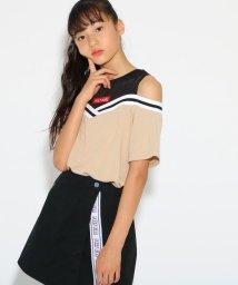 PINK-latte/メッシュV切替肩あき トップス/502455621