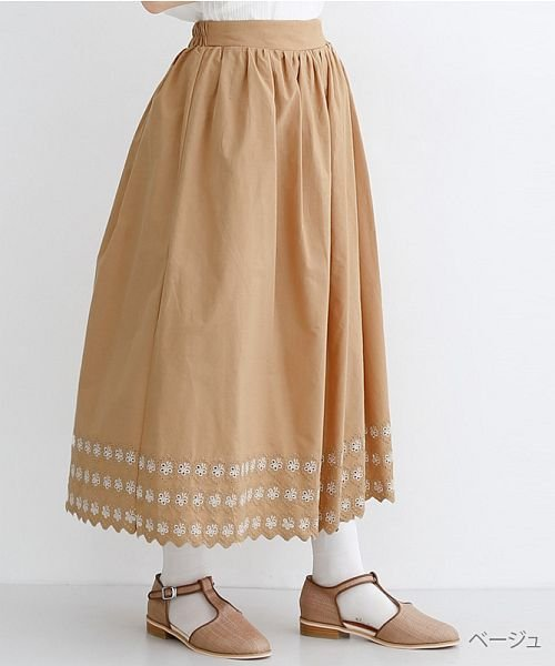 merlot(メルロー)/パネル刺繍フレアスカート/00010012-869132581792