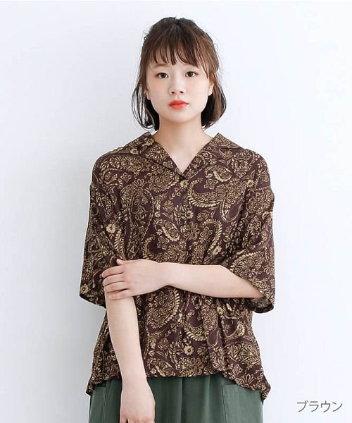 merlot(メルロー)/オリエンタルペイズリー柄オープンカラーシャツ/00010012-869212533261