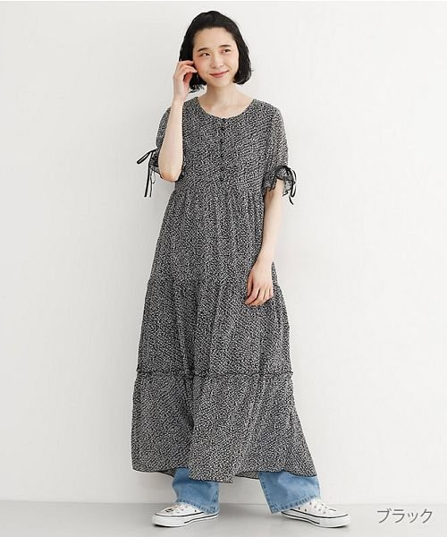merlot(メルロー)/小花柄シフォンティアードワンピース/00010012-869232581813