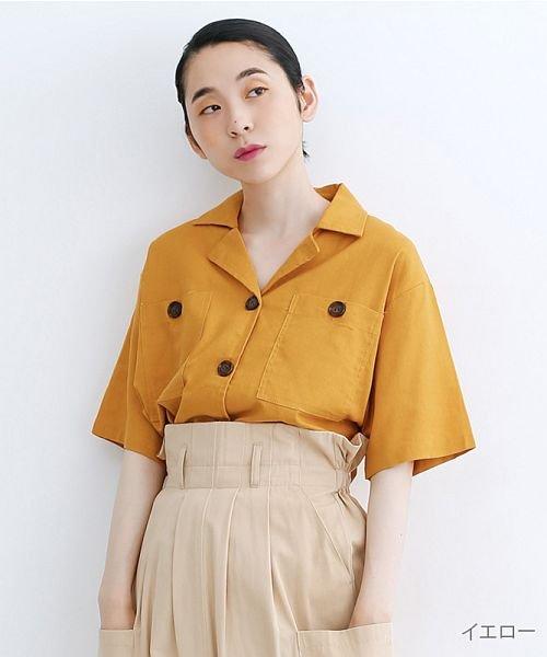 merlot(メルロー)/コットンリネンビックポケット開衿シャツ/00010012-879610018547