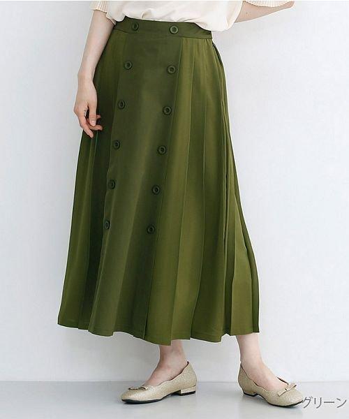 merlot(メルロー)/【plus】フロントダブルボタンプリーツスカート/00010012-939210062958