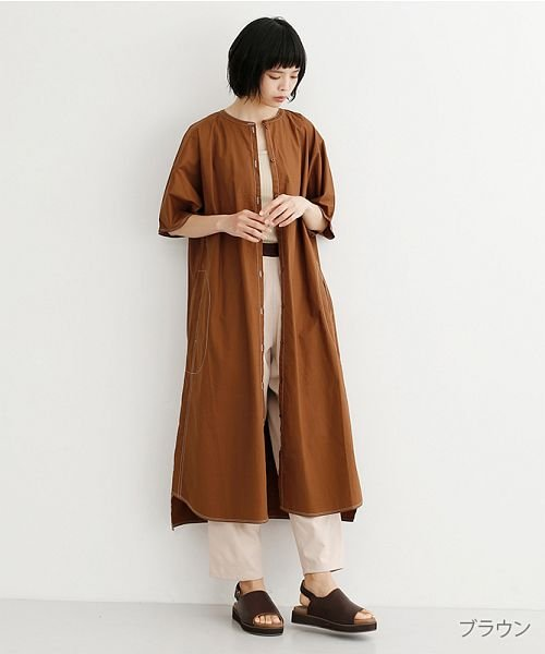 merlot(メルロー)/【IKYU】配色ステッチノーカラーシャツワンピース/00010012-939220143107