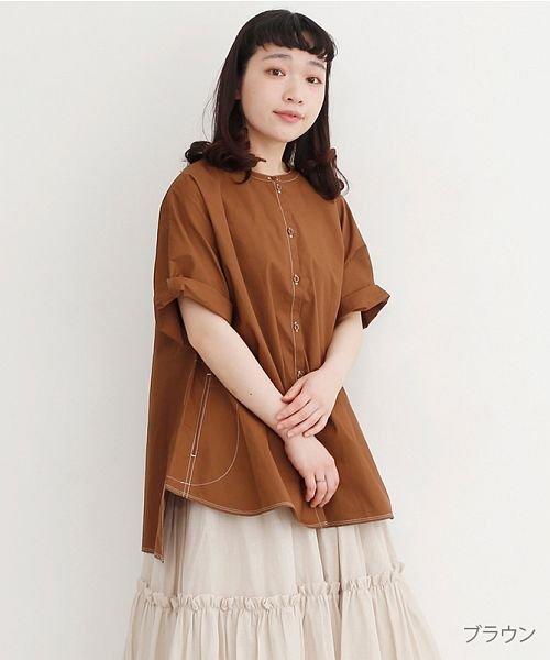 merlot(メルロー)/【IKYU】配色ステッチノーカラ―シャツ/00010012-939220143186