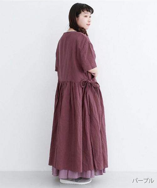 merlot(メルロー)/【IKYU】リネンミックスカシュクールギャザーワンピース/00010012-939230032993