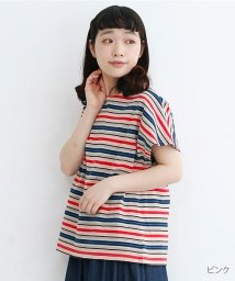 merlot/【TVドラマ着用】【IKYU】マルチボーダーフレンチスリーブTシャツ/502455921