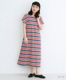 merlot/【IKYU】マルチボーダーフレンチスリーブTシャツワンピース/502455922