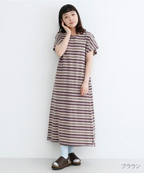 merlot(メルロー)/【IKYU】マルチボーダーフレンチスリーブTシャツワンピース/00010012-939230033074