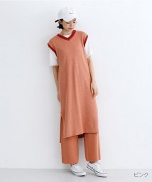 merlot/配色ラインワッフル編みコットンニットワンピース/502455940