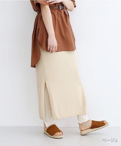 merlot(メルロー)/サイドスリットリブコットンニットスカート/00010012-939230122955