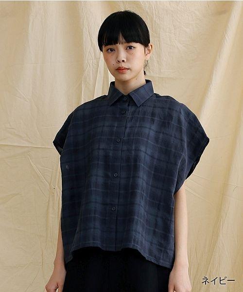 merlot(メルロー)/【IKYU】オーバーシルエットチェック織り柄シャツ/00010012-939230143077