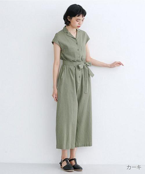 merlot(メルロー)/リネンミックス開襟ジャンプスーツ/00010012-939230152964