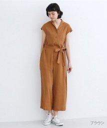 merlot/リネンミックス開襟ジャンプスーツ/502455965