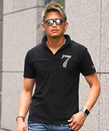 LUXSTYLE/ラインストーンナンバリングイタリアンカラー半袖スキッパーポロシャツ/ポロシャツ メンズ 半袖 イタリアンカラー ラインストーン/502458046
