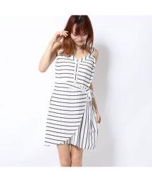 GUESS/ゲス GUESS EMILEA STRIPED WRAP DRESS (CREAM WHITE MULTI)/502458143