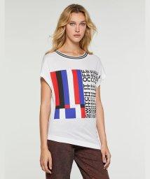 SISLEY/ネックボーダーアシメプリントフレンチTシャツ・カットソー/502445006