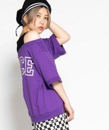 WEGO/WEGO/ロールアップオフショルロゴTシャツ/502354361