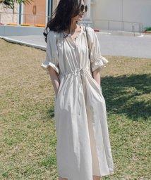 felt maglietta/一枚でお洒落シルエットが綺麗なギャザーワンピース/ワンピース/韓国ファッション/春/夏/502462593
