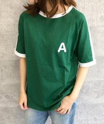 felt maglietta/大人気のラインBIGシルエットTシャツ◎胸部分の刺繍がポイント♪ライン刺繍Tシャツ/トップス/Tシャツ/ライン/韓国ファッション/BIGシルエット/オーバーサイ/502462594