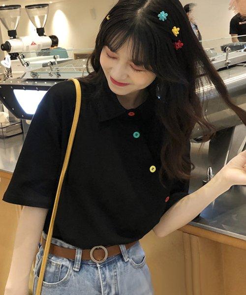 felt maglietta(フェルトマリエッタ)/アシメに付いたカラフルボタンが可愛い◎一枚でお洒落に着れるポロシャツ♪/トップス/カットソー/夏/ポロシャツ/韓国ファッションシャツ Tシャツ/am233