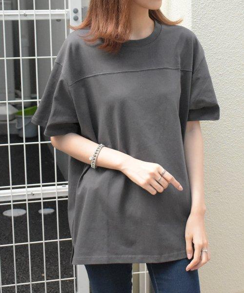 felt maglietta(フェルトマリエッタ)/フロントとバックの切り替えデザインでカジュアルなスタイリングに取り入れたトップス !!フットボール  Tシャツ/am235