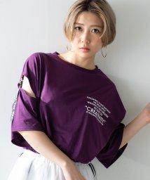 WEGO/WEGO/スリットロゴテープTシャツ/502354273