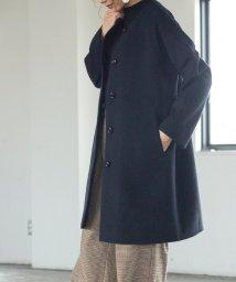 coen/【着丈88~90cm】イタリアンリサイクルウールノーカラーコート(ネイビー)/502466778
