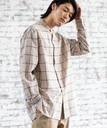 coen/ウインドペンチェックバンドカラーロングシャツ/502468115