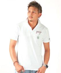 LUXSTYLE/トリコロールラインストーンナンバリングイタリアンカラー半袖スキッパーポロシャツ/ポロシャツ メンズ 半袖 イタリアンカラー ラインストーン/502468133
