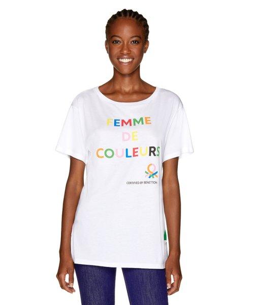 BENETTON (women)(ベネトン(レディース))/マルチカラーロゴサイドスリットポイントTシャツ・カットソー/19A3P1ZE15A0