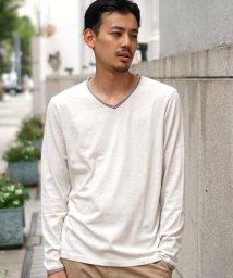 BEAMS MEN/BEAMS / ダブル カラー カットオフ Vネック Tシャツ/502367444