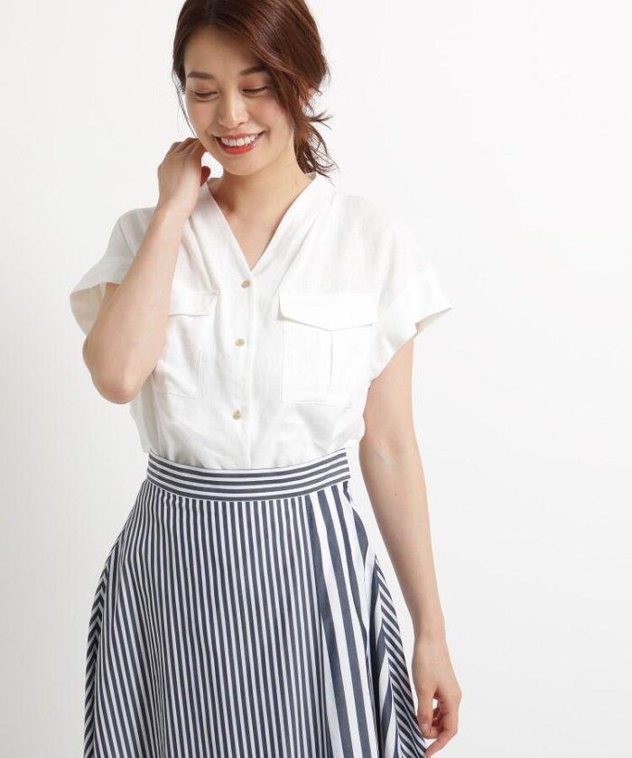 【Sサイズあり】レーヨン麻Vネックシャツ