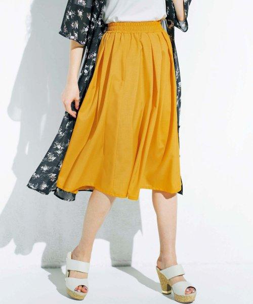 GeeRa(ジーラ)/麻調合繊鮮やかフレアースカート       /204637