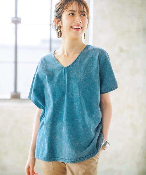 GeeRa(ジーラ)/デニム風ドルマンTシャツ          /204633