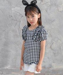 子供服Bee/肩フリル付きチェック柄Tシャツ/502480020