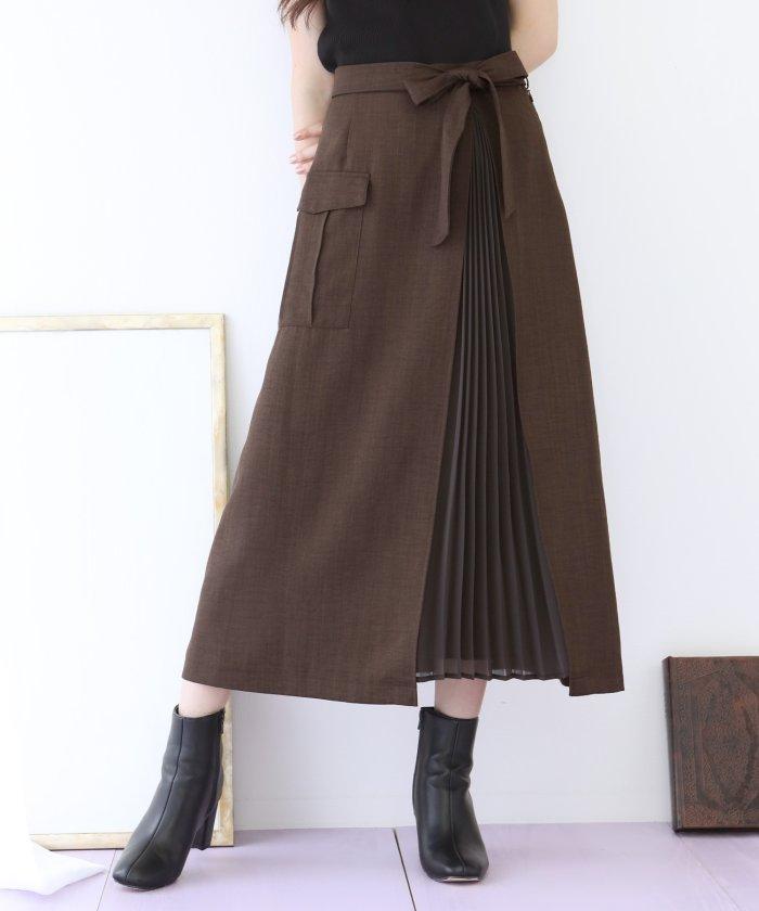 プリーツ切替デザインポケットツイルスカート