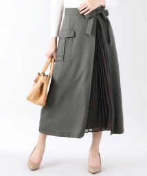 BLUEEAST/プリーツ切替デザインポケットツイルスカート/502483016