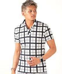 LUXSTYLE/ウィンドウペンチェックイタリアンカラー半袖ポロシャツ/ポロシャツ メンズ イタリアンカラー 半袖 ウィンドペンチェック/502483842