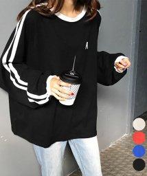 miniministore/Tシャツ レディーストップス 長袖 カットソー 韓国ファッション 英字ロゴ 2ライン ゆったり 即納/502483897