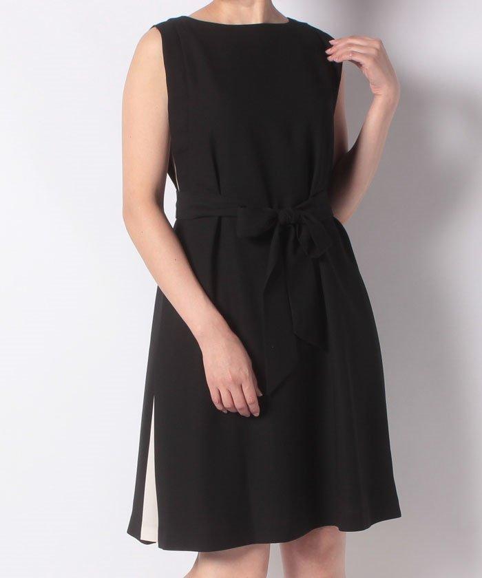 サイド配色サッシュベルト付きドレス