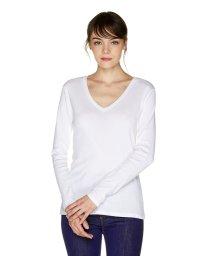 BENETTON (women)/コットンVネック袖ロゴ刺繍ロングTシャツ・カットソー/502474295