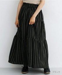 merlot/ストライプ柄ティアードスカート/502490349