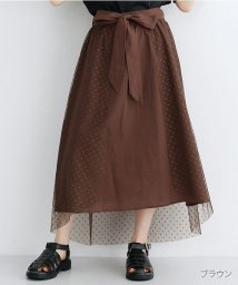 merlot/ドットチュールアシメスカート/502490372