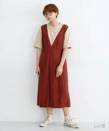 merlot/リネンミックスボックスタックジャンパースカート/502490387