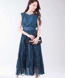 BLUEEAST/サイドレースアップレース×プリーツ切替ドレス/502348348