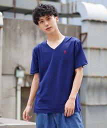 GIORDANOM/[GIORDANO]ライオン刺繍VネックTシャツ/502389207